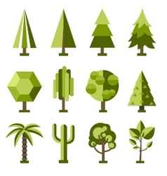 set stylized tree vector image vector image