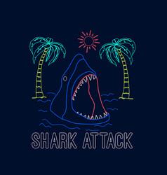 Shark print design with slogan vector