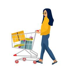 shopping woman cartoon customer carrying cart for vector image