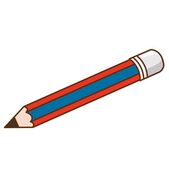 Single pencil with red and blue striped on white vector