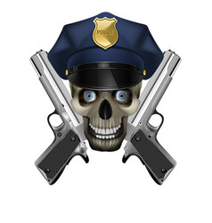 skull in a police cap and silver pistol vector image