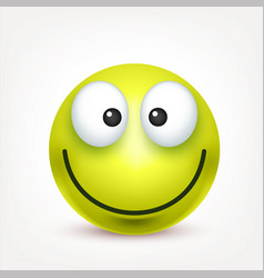 Smileygreen happy emoticon yellow face with vector