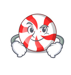 Smirking peppermint candy character cartoon vector