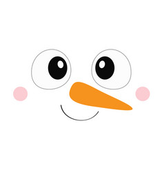 Snowman square face icon big eyes carrot nose vector