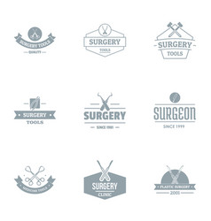 surgery logo set simple style vector image