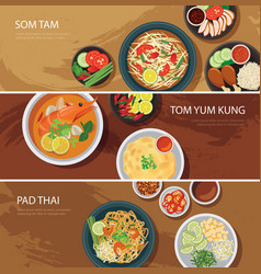 Thai food web banner flat design vector
