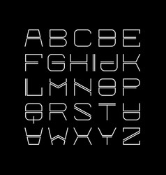 Thin line alphabet linear uppercase modern font vector