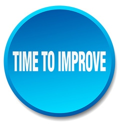 Time to improve blue round flat isolated push vector