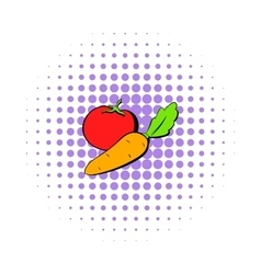 Tomato and carrot icon comics style vector