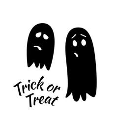 Trick or treat calligraphic posterwith ghosts vector