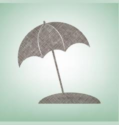 Umbrella and sun lounger sign brown flax vector