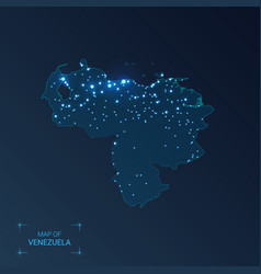 Venezuela map with cities luminous dots - neon vector