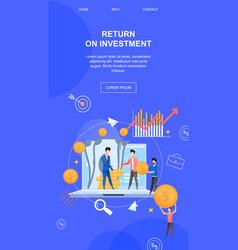 Vertical flat banner return on investment brokers vector