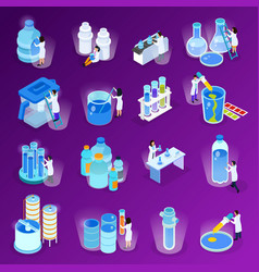 Water purification isometric icon set vector