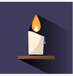 Wax candle color icon with shade on dark vector