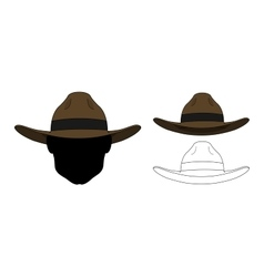 Wild west old fashion hat color contour vector