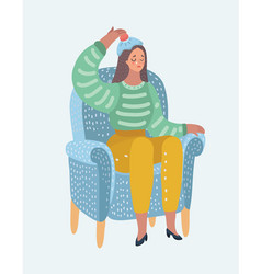 Woman with hot-water bottle on head headache vector