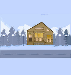 wood houseon a road in winter snowing vector image