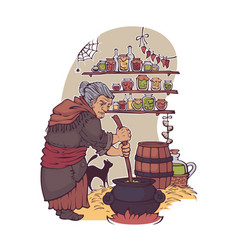 Working witch old lady making a magic potion vector