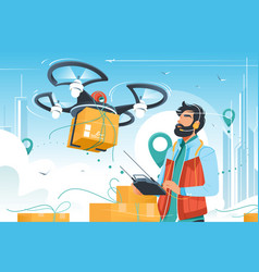young handsome man with beard controls drone vector image