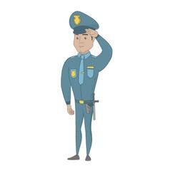 young hispanic police officer saluting vector image