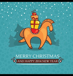 Christmas cute baby card with horse and gifts vector image vector image