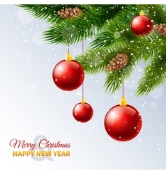 Decorated christmas tree branches card print vector image