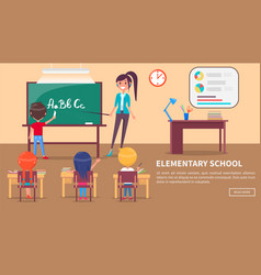 elementary school banner with children and teacher vector image