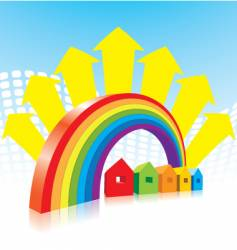 rainbow and houses vector image vector image