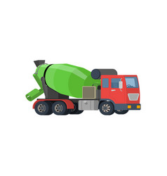 concrete mixing truck flat design vector image