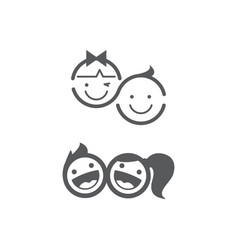 kids logo set childhood kid logo vector image