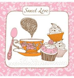 Retro Sweet Tea Time Card vector image vector image