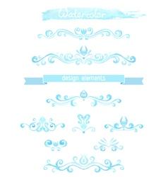 set of vintage watercolor design elements vector image vector image