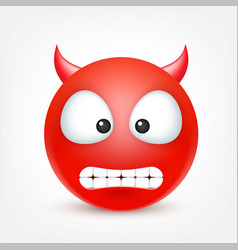 Smiley red devil emoticon yellow face with vector