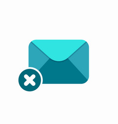 block cross delete email envelope error mail icon vector image