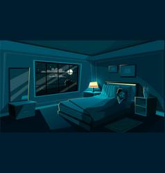 cute young woman sleeping bedroom at night vector image