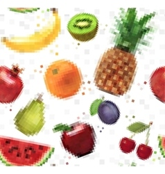 Pattern pixel fruits vector image vector image