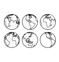 Six Earth globes vector image