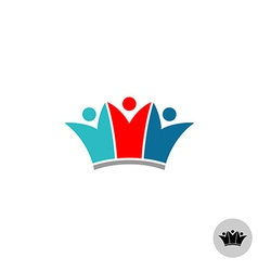 Three people in a crown shape logo vector image vector image