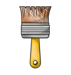 paint brush icon in colored crayon silhouette vector image vector image