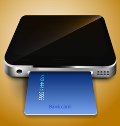 Payment by credit card through a mobile device vector image