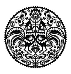 Polish floral embroidery with roosters vector image