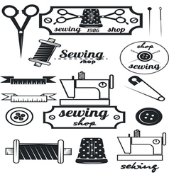 Set of vintage tailor labelssewing workshop vector image vector image