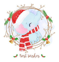 Adorable elephant for christmas decoration vector