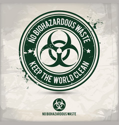 alternative no biohazardous waste stamp vector image