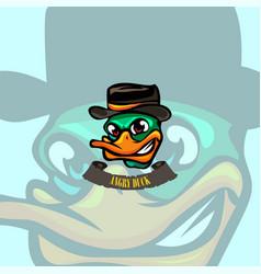 Angry duck cartoon logo vector