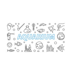 Aquarium horizontal banner in thin line vector