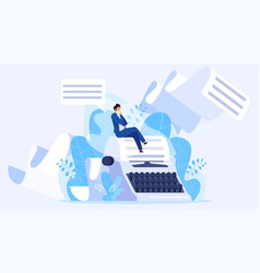 Author writing a book tiny man sitting on huge vector