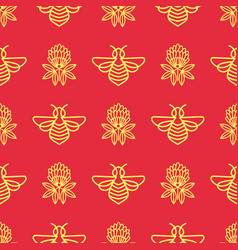 Bees and clover honey on the apiary seamless vector