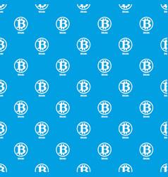 Bitcoin pattern seamless blue vector